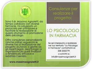 CONSULENZE PER REALIZZARE IL PROGETTO LO PSICOLOGO IN FARMACIA